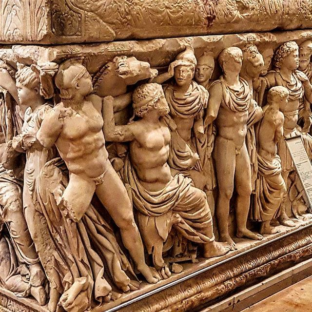 Stunning relief on a sarcophagus at Beirut national museum. Discovered in...