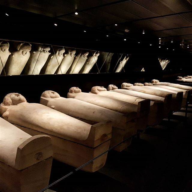 World's biggest collection of anthropoid sarcophagi (with carved faces) at...