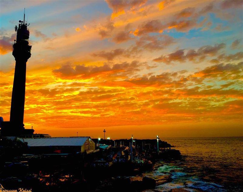 sunset lighthouse colors beirut lebanon sea...