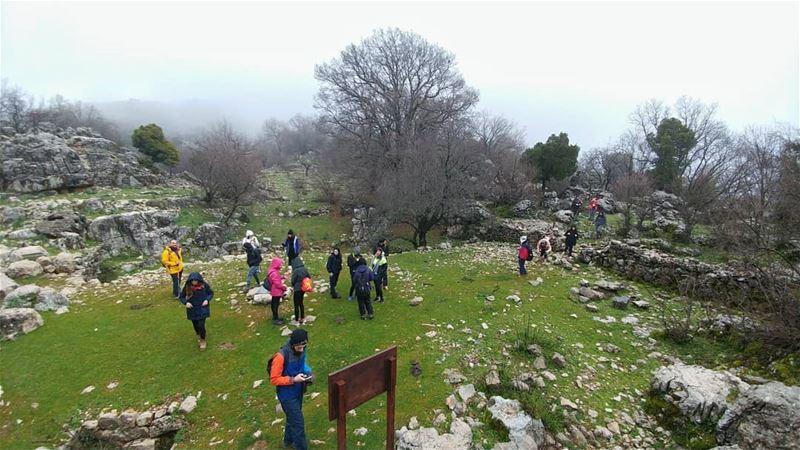 Two pics, same hike, same day🚶🌸❄(During yesterday's hike to Jabal... (Lebanon)