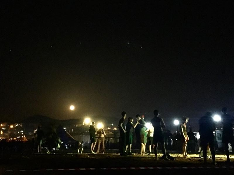 Don't lose the moon while counting the stars. camping nightcamp moon ... (Damour, Lebanon)
