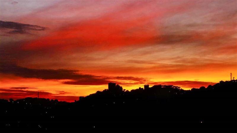 A painting over Brummana sunsetsky sunset amazing view livelovebeirut... (Brummana)