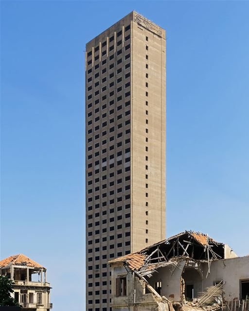 Al Murr Tower is one of the many abandoned buildings in Lebanon. Located... (Beirut, Lebanon)