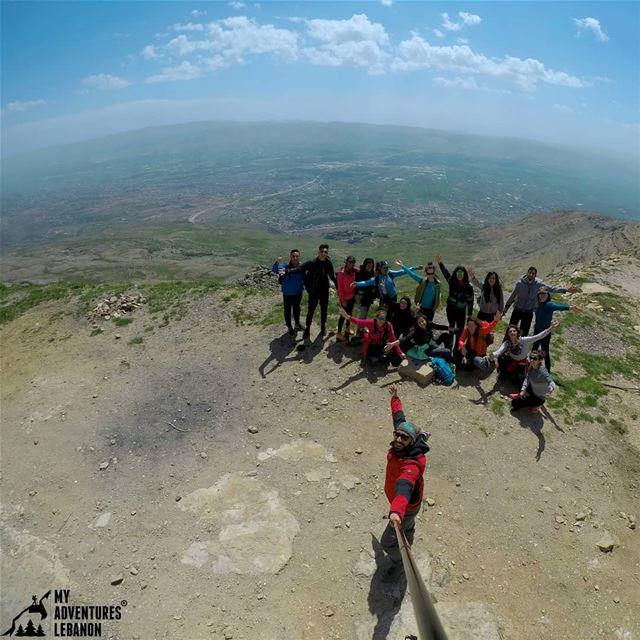 This is how we do it 🗻🚶🙌 (Bekaa valley behind us) myadventureslebanon...