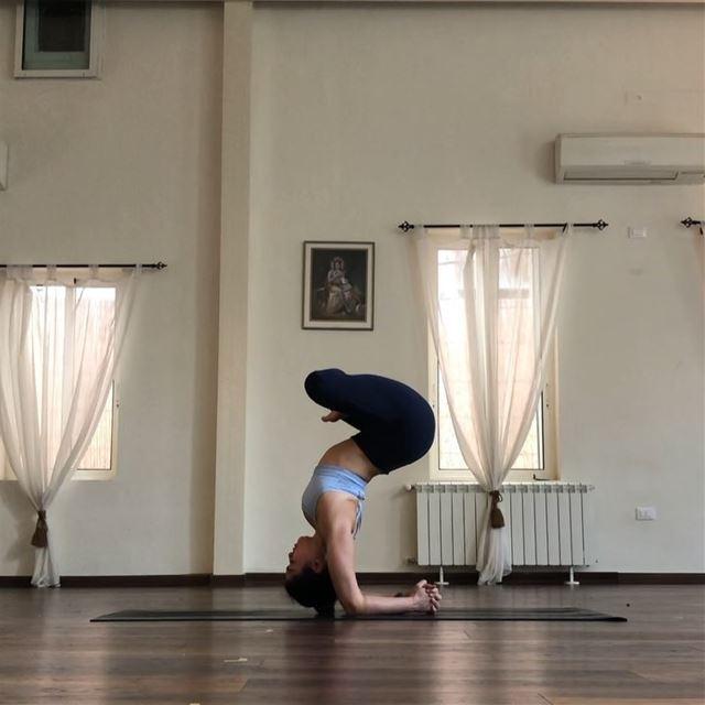 Sitting in stillness upside down... my kind of meditation 🧘🏽♀️🙃We... (Sarvam Yoga)