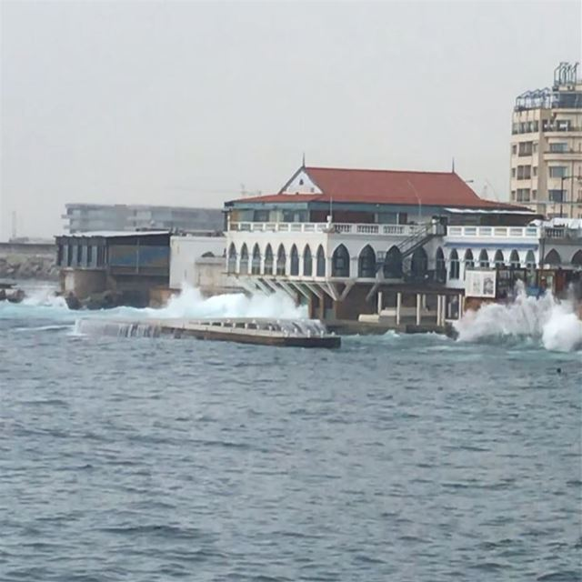 The sound of the waves with the pouring rain Have so many stories to... (Beirut, Lebanon)
