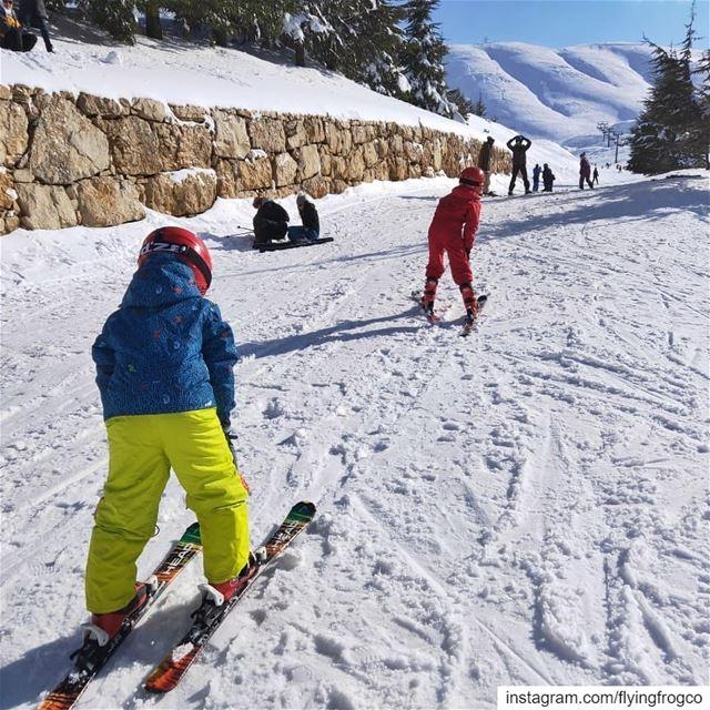 Kids enjoying their ski lessons on the slopes!!.... flyingfrog ... (Mzaar Ski Resort Kfardebian)
