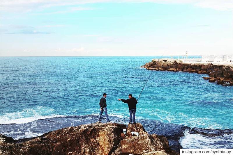 You! beach beachlife fishing friends ig_street ig_lebanon ... (Beirut, Lebanon)