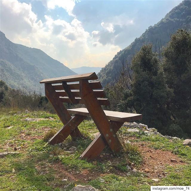 Love is what makes two people sit in the middle of the bench even if there... (Wadi El Salib - Kfardebian)