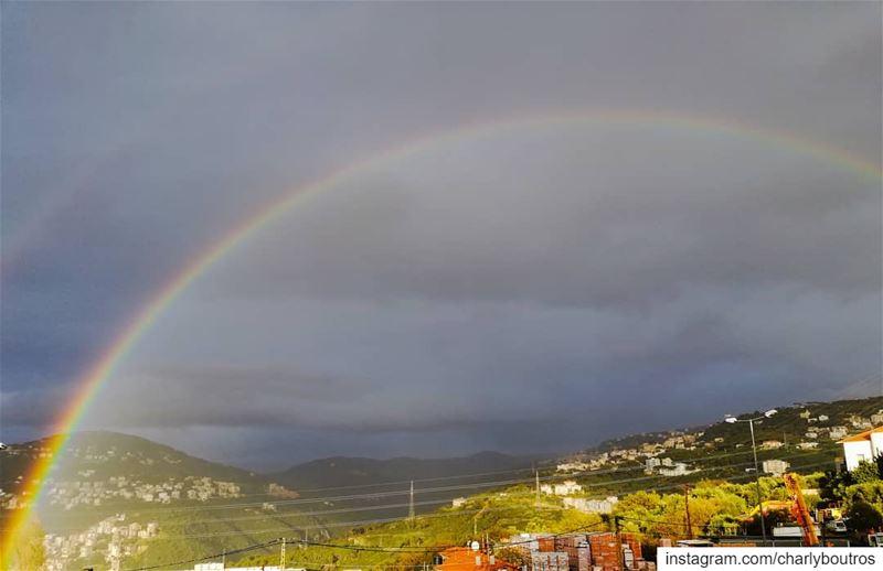 picoftheday saturday rainbow rain view nature naturephotography ... (Jamhoûr, Mont-Liban, Lebanon)
