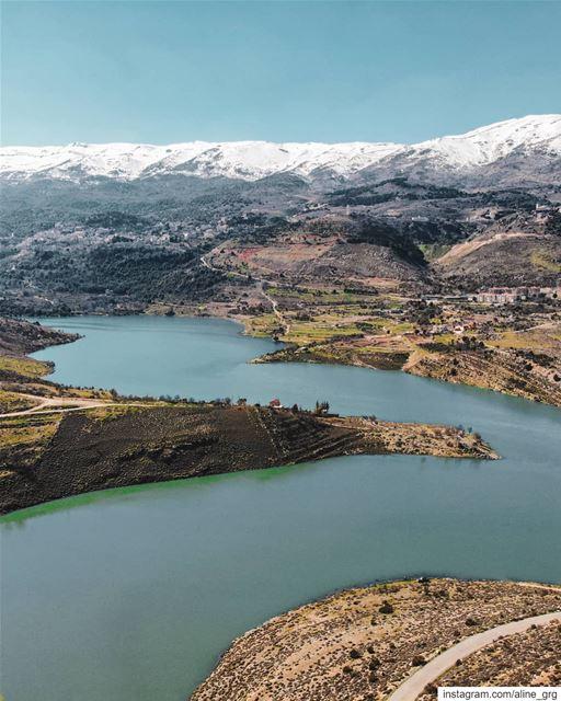 ° Hello, May! ° 🧚♀️ dji drone lake mountain tree bekaa sky blue ... (Saghbîne, Béqaa, Lebanon)