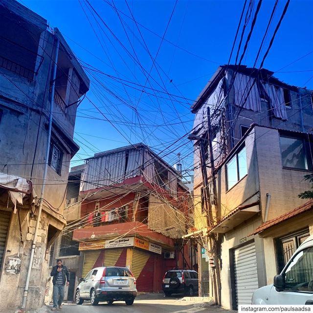 spiderweb spiderman web street building lebanon ... (Nafa2 El Barbir)