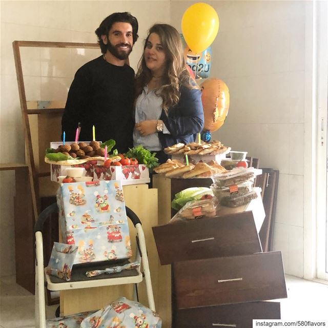 Celebrating my fiancé pre-birthday at our future house with falafel 🥙 🏠 � (Zgharta)
