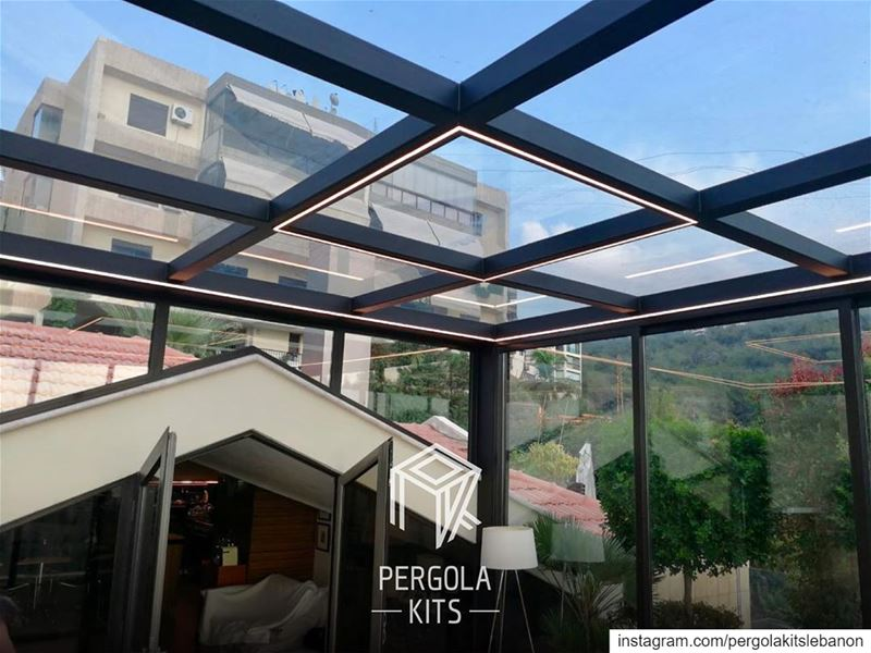 Strip Lights in Steel Sunroom Design. PergolaKitsLebanon in Bsalim📍... (Bsalim, Mont-Liban, Lebanon)