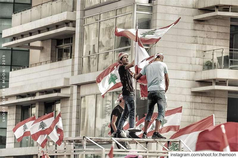 Men's red flower..... freedom red lines liberty ... (Martyrs' Square, Beirut)