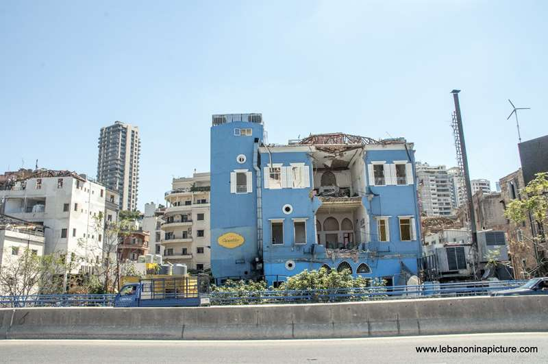 A ruins of a building in Mar Mikhael next to Caffee Em Nazih after the Beirut Port Blast