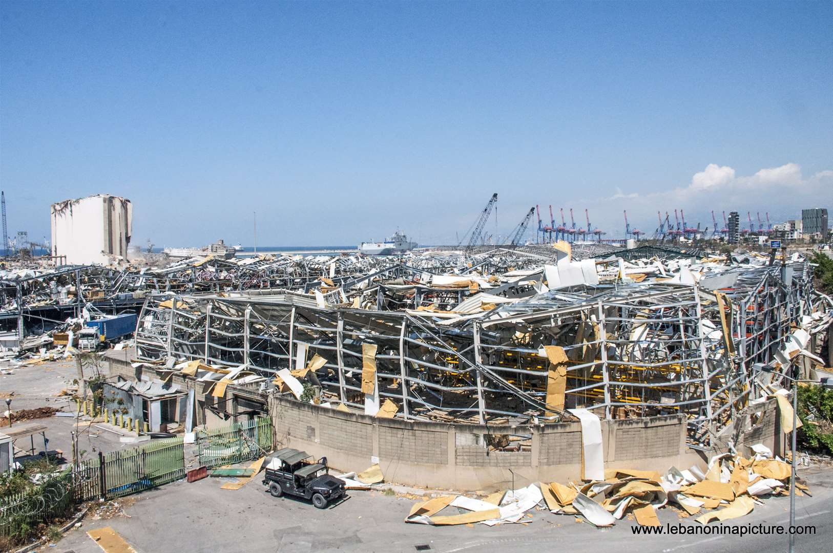 The port area where their used to be big refrigerators, all destroyed because of the Beirut Port Explosion