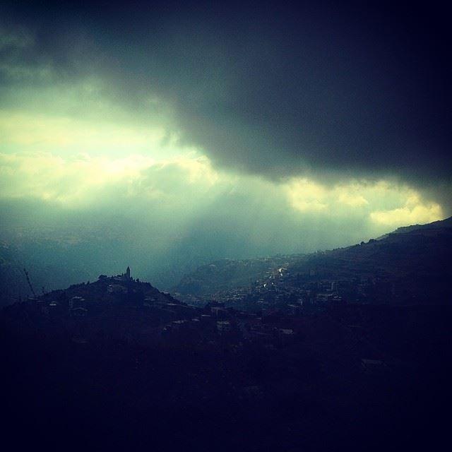 bcharre village roadtrip lebanon sky skies cloudy weather sunrays...
