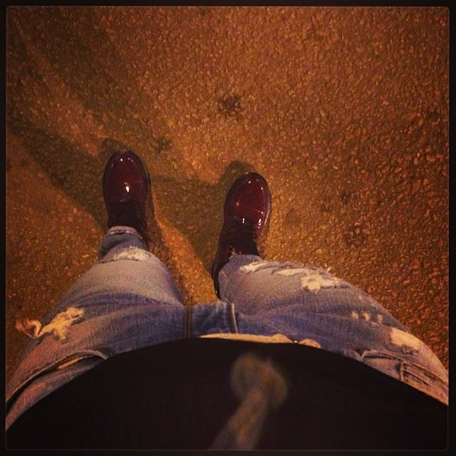 night out cold boots red shadow weather freezing lovely walk music on...