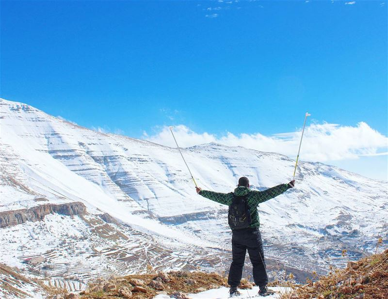 Good morning world tb faqra me kfardebian snow mountains sky ... (Faqra, Kfardebian)