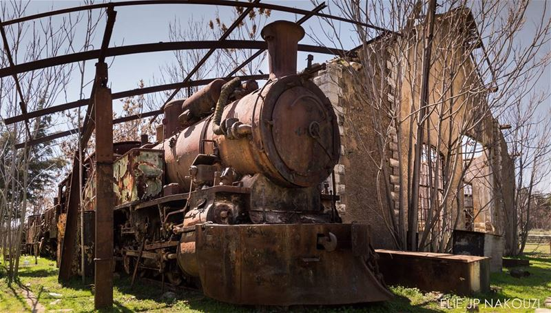 Rusted locomotive frozen in time  since 1976 at a ghost station hunted by... (Rayak, Béqaa, Lebanon)